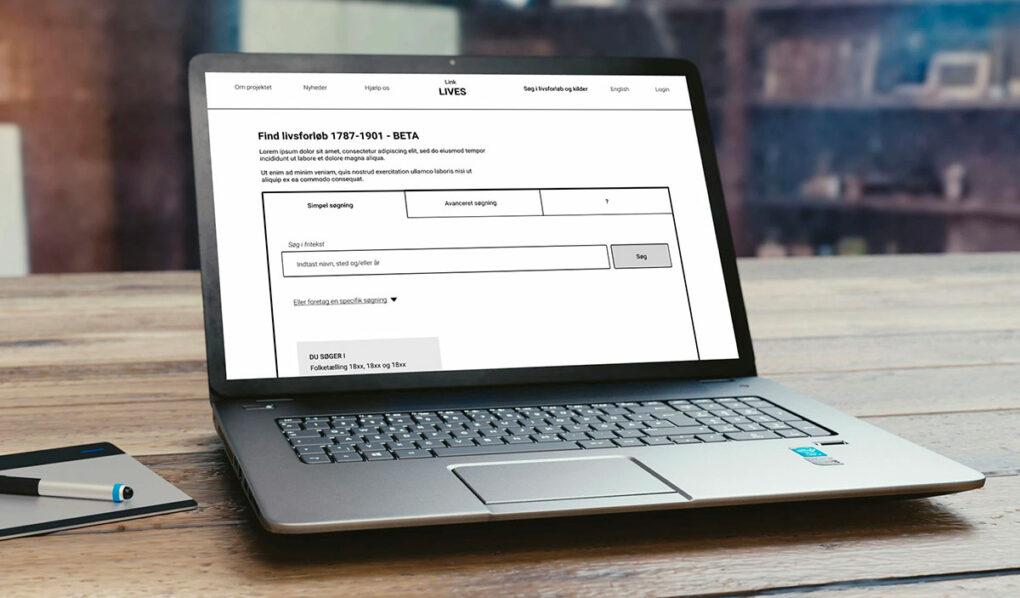 Laptop, som viser prototypens forside